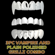 #12 3 Piece Grillz Combo - Silver Polished MATCHING Vampire Top Grillz + Regular Top Grillz + Shiny Bottom Grillz
