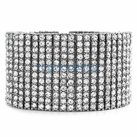 12 Row Totally Iced Out Bracelet Silver * Premium *