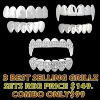 #13 6 Piece Silver Grillz Combo - 3 Best Selling Grillz Sets with Matching Tops and Bottoms