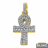 14K Gold Ankh Cross Channel Set 1.00cttw Diamonds