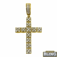 14K Gold Cluster Diamond Cross 1.60cttw