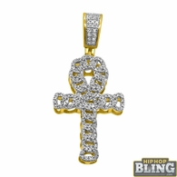 14K Gold Cuban Ankh Cross .33cttw Diamonds