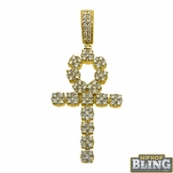14K Gold Diamond Cluster Ankh Cross 1.57cttw