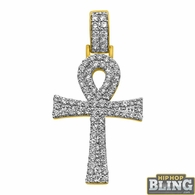14K Gold Double Ankh Cross 2.00cttw Diamonds