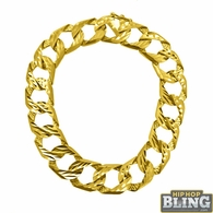 14MM Wide 10K Yellow Gold Diamond Cut Cuban Bracelet