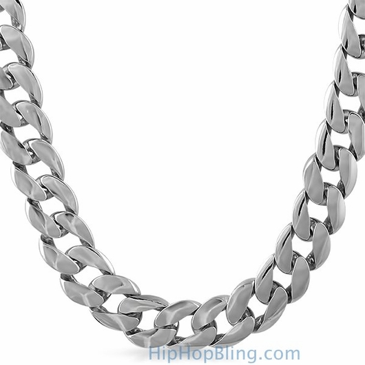 15mm Jumbo Cuban Chain Rhodium