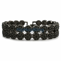 2 Row Cluster Black Bling Bling Bracelet