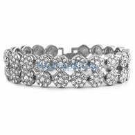 2 Row Cluster Iced Out Rhodium Bling Bracelet