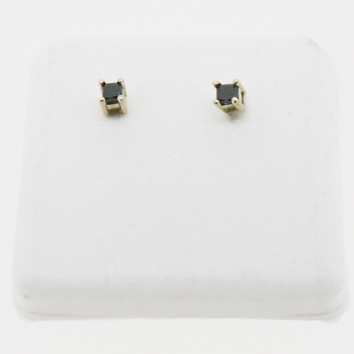 10K Gold .25cttw Black Diamond Princess Cut Earrings Studs