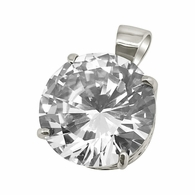 25MM CZ Solitaire Rhodium Bling Bling Pendant