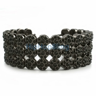 3 Row Black Cluster Bling Bling Bracelet