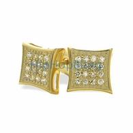 32 Stones Kite Gold Vermeil CZ Micro Pave Earrings .925 Silver