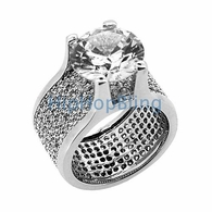 360 Mens Iced Out Ring w/ 20ct Solitaire