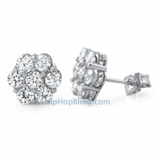 3d cluster cz micro pave bling bling earrings - custom micro pave cz earrings