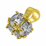 3D CZ Diamond Gold Bling Bling Pendant