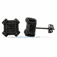 3D Edgy Box Black CZ Bling Bling Earrings