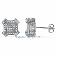 3D Edgy Box CZ Bling Micro Pave Earrings