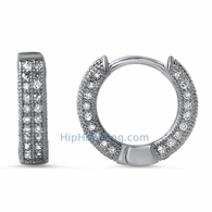 3D Hoop Earrings CZ Micro Pave