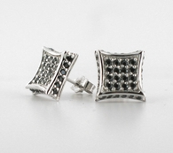 3D Kite Earrings Black CZ Micro Pave .925 Silver