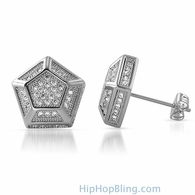 3D Pentagon Rhodium CZ Bling Bling Earrings