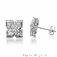 3D Pointed X Rhodium CZ Bling Bling Earrings