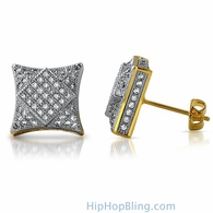 3D Square in Kite Gold CZ Micro Pave Bling Earrings
