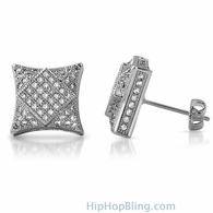 3D Square in Kite Rhodium CZ Micro Pave Bling Earrings