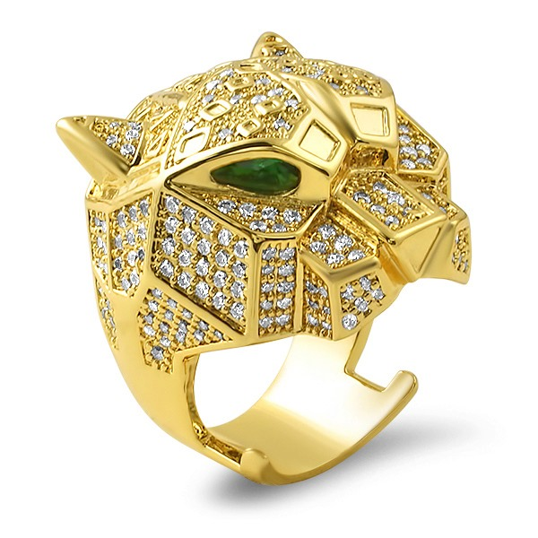 3d Tiger Micro Pave Gold Bling Bling Ring Gold Cz Iced