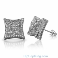 3D X Kite Rhodium CZ Micro Pave Hip Hop Earrings