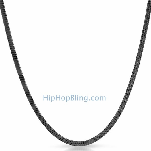 3mm 36 Inch Square Snake Black Hip Hop Chain