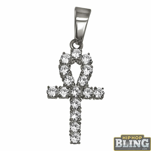 3MM CZ Ankh Cross Stainless Steel Bling Bling