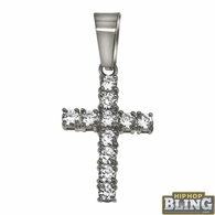 3MM CZ Tennis Cross Bling Bling Stainless Steel
