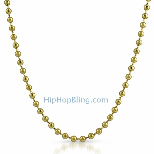 4.5mm Gold Plated Bead Ball Dog Tag Chain Necklace