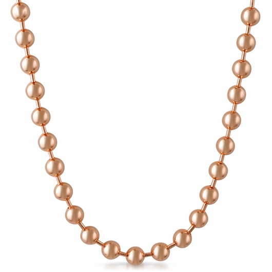 4.5mm Rose Gold Plated Bead Dog Tag Ball Necklace