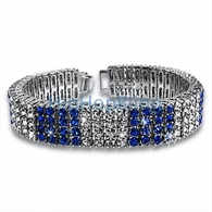 4 Row Iced Out Bracelet Blue & White Block Style