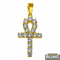 4MM CZ Ankh Cross Gold Stainless Steel Bling