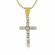 4MM CZ Cross Gold Stainless Steel Bling Bling