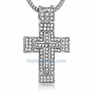 Rhodium Thick Hip Hop Cross & Chain Small