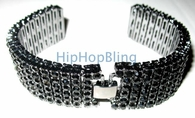 6 Row Black Bling Bling Watch Band  Fits 22mm & 24mm