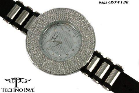6 Row Bling Bling Techno Pave Watch Black Bullet Band