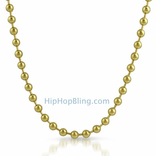 6mm Gold Plated Bead Dog Tag Ball Necklace