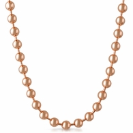 6mm Rose Gold Plated Bead Dog Tag Ball Necklace