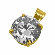 .925 Silver 15MM CZ Solitaire Gold Bling Bling Pendant