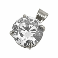 .925 Silver 15MM CZ Solitaire Rhodium Bling Bling Pendant