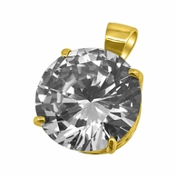 .925 Silver 20MM CZ Solitaire Gold Bling Bling Pendant