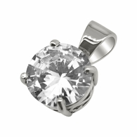 .925 Silver 25MM CZ Solitaire Rhodium Bling Bling Pendant