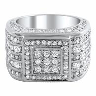 .925 Silver Godfather CZ Bling Bling Ring