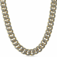 .925 Silver Miami Cuban Gold CZ 13MM Chain