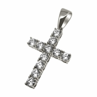 .925 Sterling Silver 4MM CZ Tennis Cross Rhodium