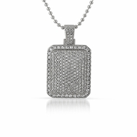 .925 Sterling Silver Micro Pave Mini Dog Tag